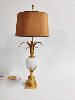 Brass Lamp from Opaline Table Boulanger1970s and 0wXnPkO8