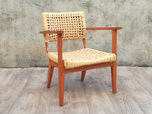 Admirable Wooden And Braided Rope Armchair By Adrien Audoux Frida Minet 1960S Inzonedesignstudio Interior Chair Design Inzonedesignstudiocom