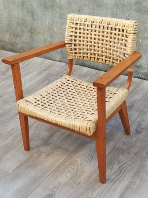 Outstanding Wooden And Braided Rope Armchair By Adrien Audoux Frida Minet 1960S Inzonedesignstudio Interior Chair Design Inzonedesignstudiocom