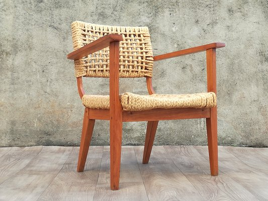 Incredible Wooden And Braided Rope Armchair By Adrien Audoux Frida Minet 1960S Inzonedesignstudio Interior Chair Design Inzonedesignstudiocom