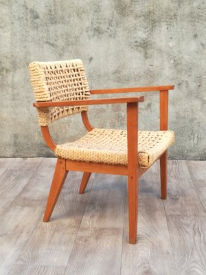 Remarkable Wooden And Braided Rope Armchair By Adrien Audoux Frida Minet 1960S Inzonedesignstudio Interior Chair Design Inzonedesignstudiocom