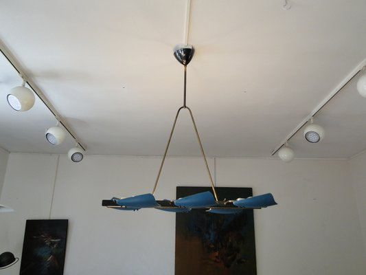 Blue Metal Brass Ceiling Lamp 1960s For Sale At Pamono