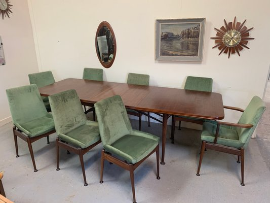 Mesa de comedor extensible con 8 sillas de Robert Heritage para Archie  Shine, años 60
