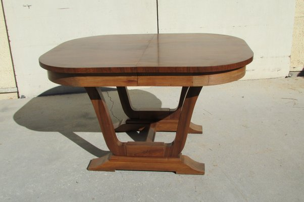 Table De Salle A Manger Ovale Extensible Art Deco En Noyer 1920s