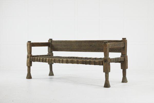 Stupendous Rustic Ethiopian Bench With Woven Leather Seat 1940S Creativecarmelina Interior Chair Design Creativecarmelinacom