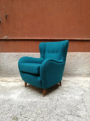 Terrific Italian Teal Cotton Beach Lounge Chair 1960S Camellatalisay Diy Chair Ideas Camellatalisaycom