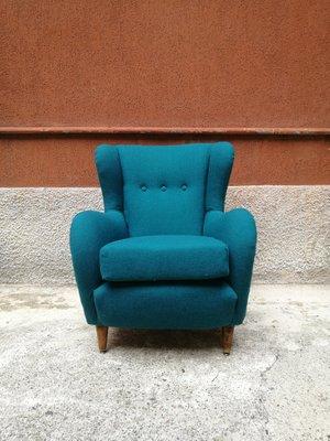 Phenomenal Italian Teal Cotton Beach Lounge Chair 1960S Camellatalisay Diy Chair Ideas Camellatalisaycom