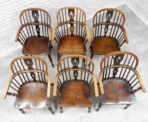 Brilliant Antique Windsor Lowback Dining Chairs Set Of 6 Bralicious Painted Fabric Chair Ideas Braliciousco