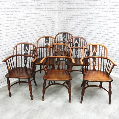 Incredible Antique Windsor Lowback Dining Chairs Set Of 6 Beatyapartments Chair Design Images Beatyapartmentscom