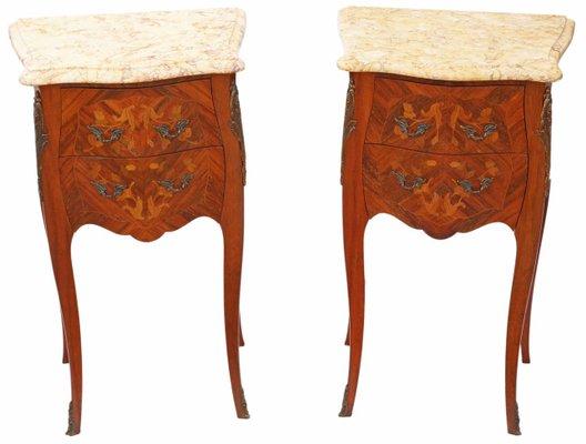 Tavoli Antichi Da Cucina Con Marmo.Comodini Antichi Intarsiati In Marmo Francia Set Di 2 In Vendita