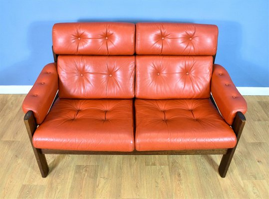 Swedish Red Leather 2-Seater Sofa, 1970s