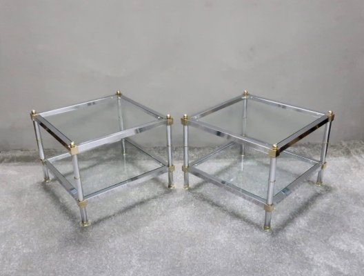 French Square Chrome Side Tables 1960s Set Of 2 For Sale At Pamono