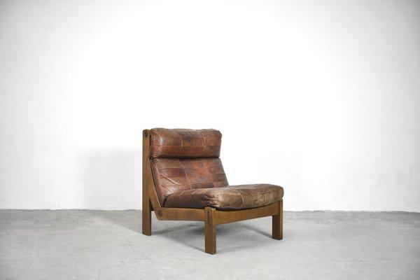 Dutch Oak & Patchwork Leather 6-Piece Modular Living Room Set, 1960s