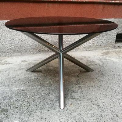 Tavoli Da Pranzo Rotondi In Vetro.Tavolo Da Pranzo Rotondo In Vetro Fume E Acciaio Cromato Italia