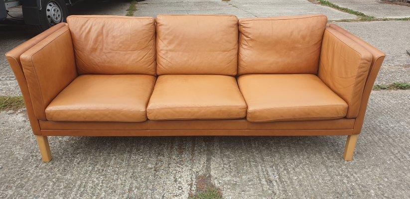 Danish 3 Seater Brown Leather Sofa, 1970s