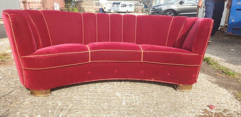 Danish Banana Red Velour Sofa 1950s