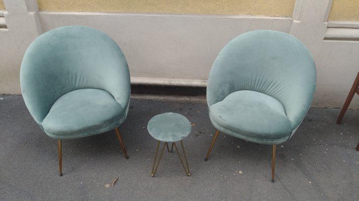 Super Velvet Brass Set With 2 Lounge Chairs Ottoman 1950S Lamtechconsult Wood Chair Design Ideas Lamtechconsultcom