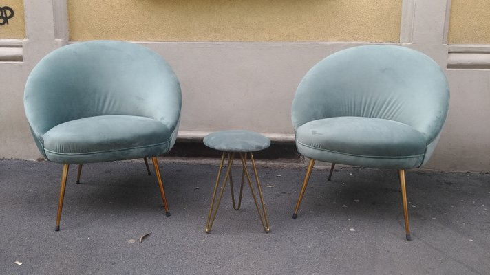 Fabulous Velvet Brass Set With 2 Lounge Chairs Ottoman 1950S Gmtry Best Dining Table And Chair Ideas Images Gmtryco