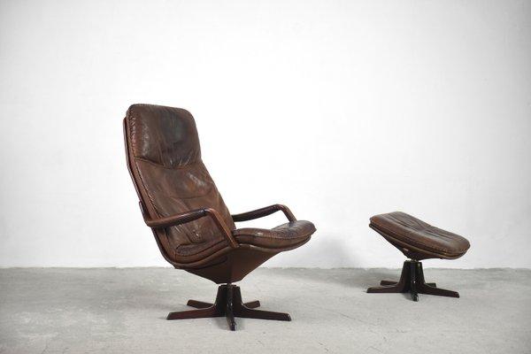 Danish Leather Adjule Easy Chair