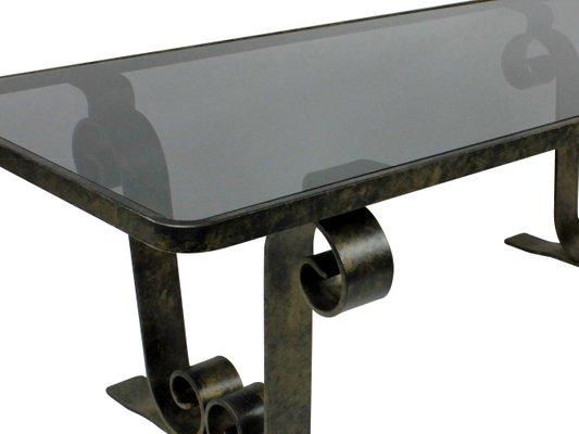 Tavolo Ferro E Vetro.Tavolino Da Caffe Industriale In Ferro E Vetro Francia Anni 60