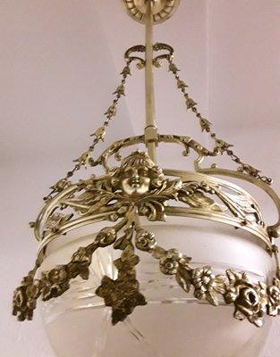 Antike deutsche Deckenlampe aus Messing