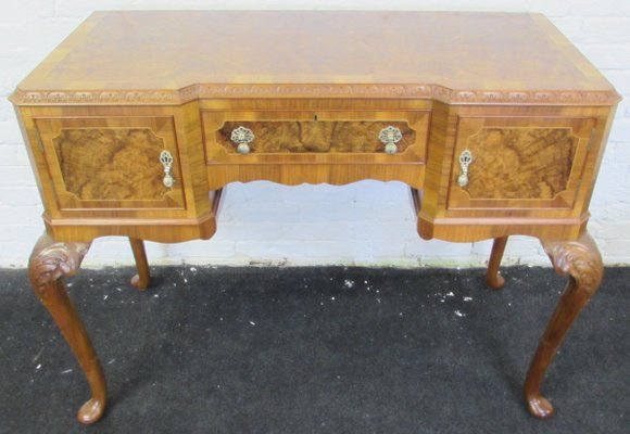 Large Queen Anne Style Burr Walnut Dining Room Set, 1920s