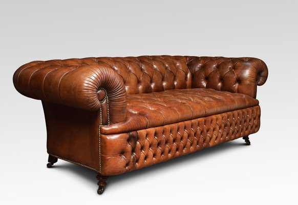 Excellent Antique Brown Leather Chesterfield Sofa Pabps2019 Chair Design Images Pabps2019Com