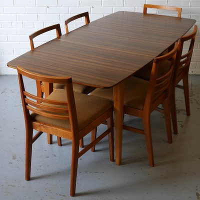 Hopewell Extendable Walnut And Beech Dining Table Chairs Set By Gimson Slater From Vesper Furniture 1950s Set Of 7 For Sale At Pamono