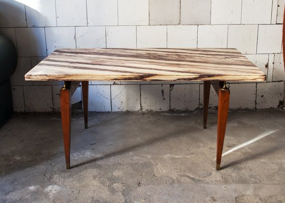 Wood Marble Br Coffee Table