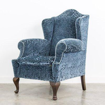 Fantastic Blue Velvet Wingback Armchair 1920S Alphanode Cool Chair Designs And Ideas Alphanodeonline