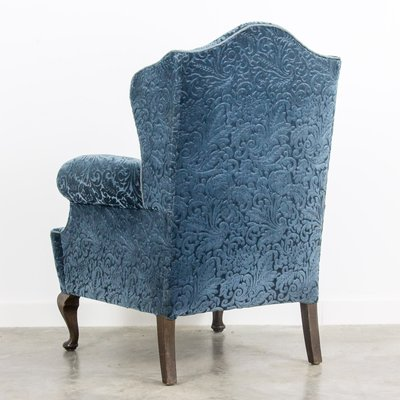 Tremendous Blue Velvet Wingback Armchair 1920S Alphanode Cool Chair Designs And Ideas Alphanodeonline