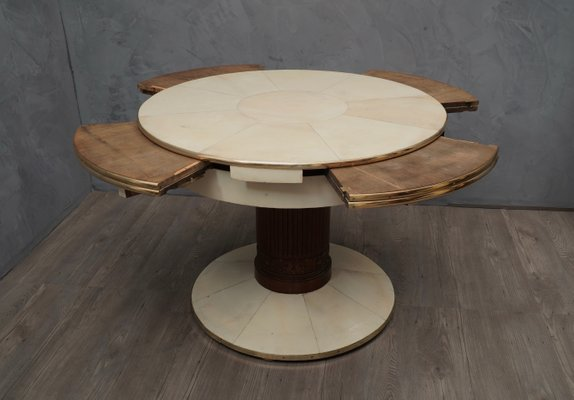 Goatskin Extendable Dining Table 1920s, Round Dining Table With Extension Leaf