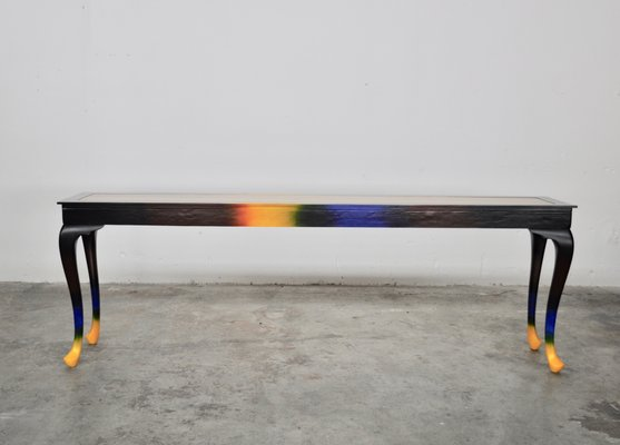 Superb Multicolor Painted Wooden Dining Table From Atelier Borella Machost Co Dining Chair Design Ideas Machostcouk