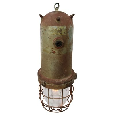 Vintage Industrial Cast Aluminum Caged Glass Pendant Lamp 1950s
