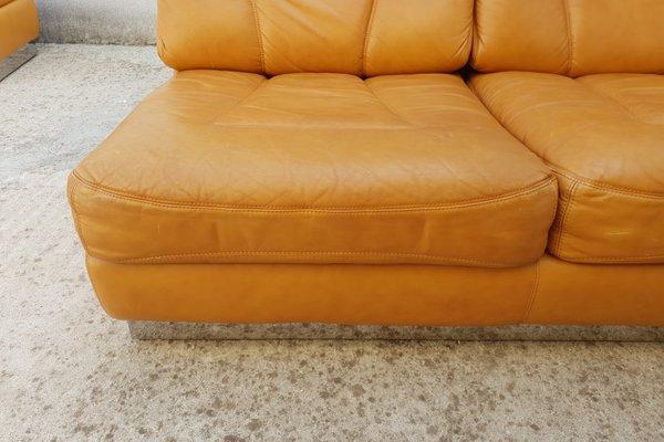 Phenomenal Leather Sofa Ottoman Set By Jacques Charpentier 1970S Machost Co Dining Chair Design Ideas Machostcouk