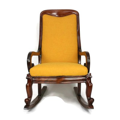 Sensational Antique Victorian Mahogany Yellow Tweed Rocking Chair Beatyapartments Chair Design Images Beatyapartmentscom