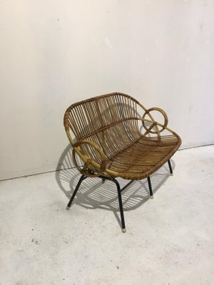 Fantastic Small Vintage Rattan Bench From Rohe Noordwolde 1960S Machost Co Dining Chair Design Ideas Machostcouk