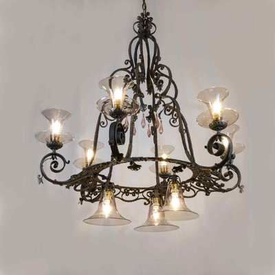 Large Wrought Iron Chandelier, 1950s
