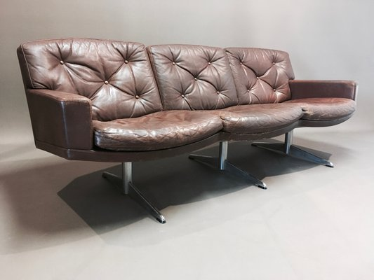 Awe Inspiring Vintage Leather And Chrome 3 Seater Sofa 1950S Machost Co Dining Chair Design Ideas Machostcouk