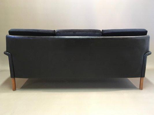Outstanding Vintage Scandinavian Rosewood Black Velvet Leather 3 Seater Sofa 1950S Creativecarmelina Interior Chair Design Creativecarmelinacom