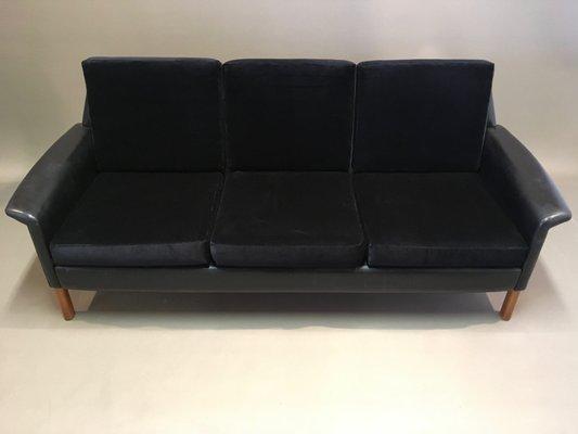 Prime Vintage Scandinavian Rosewood Black Velvet Leather 3 Seater Sofa 1950S Creativecarmelina Interior Chair Design Creativecarmelinacom