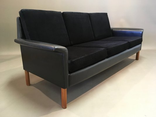 Awesome Vintage Scandinavian Rosewood Black Velvet Leather 3 Seater Sofa 1950S Creativecarmelina Interior Chair Design Creativecarmelinacom