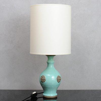 Vintage Italian Turquoise Ceramic Table, Turquoise Ceramic Lamp