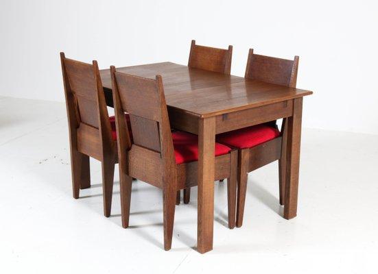 Art Deco Dutch Oak Dining Room Set By H Fels For L O V Oosterbeek 1920s