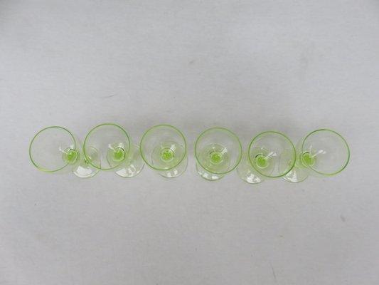 Antique French Uranium Glasses Set Set Of 6 For Sale At Pamono