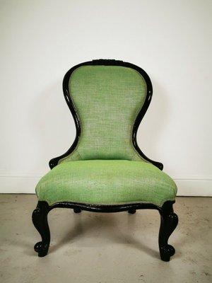 Chaise et Tissu Victorienne d'Allaitement en Ancienne Ebène en Vert PXkZiuwOT