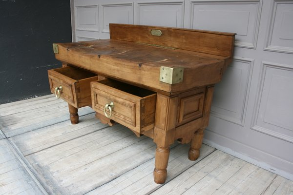 Antique Butcher S Block Table For Sale At Pamono