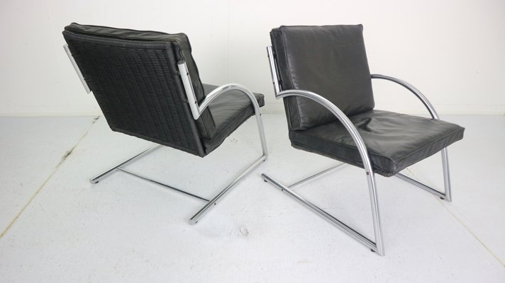 Gerard Van Den Berg 2 Fauteuils.Dutch Black Leather Armchairs By Gerard Van Den Berg For Rohe Noordwolde 1980s Set Of 2