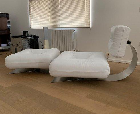 White Brazilia ON1 Lounge Chair & Ottoman Set by Oscar Niemeyer for  Mobilier International, 1970s