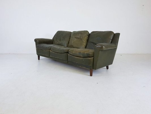 Green Leather Sofa, 1950s